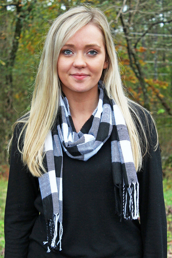 Black and White Buffalo Plaid Scarf