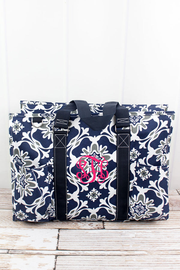 Zen Garden with Navy Trim Large Organizer Tote