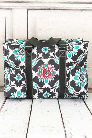 Serene Garden Utility Tote with Gray Trim