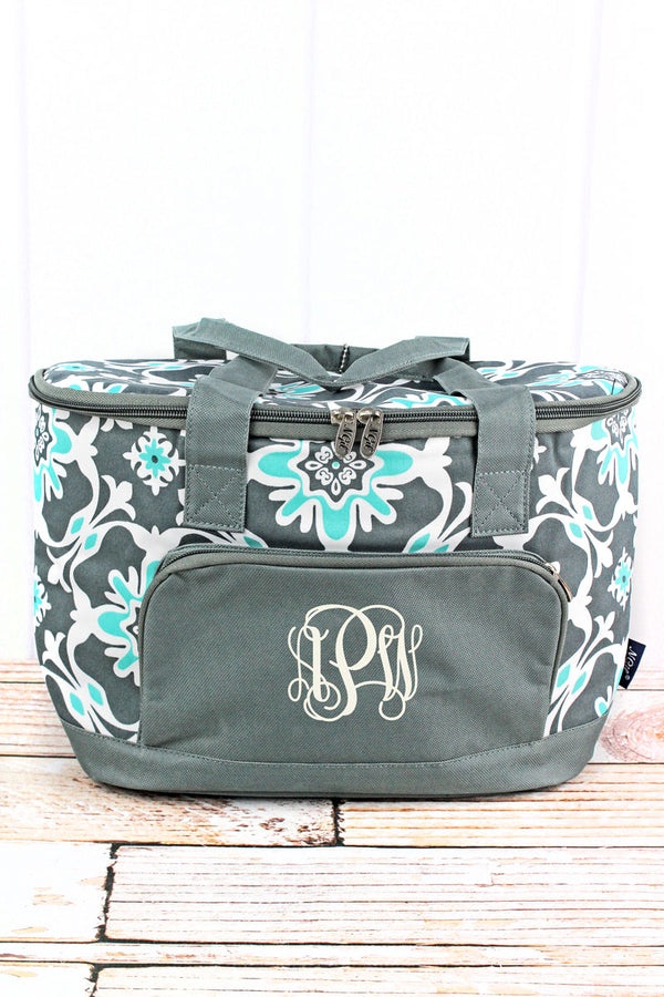 Serene Garden and Gray Mini Cooler Tote with Lid