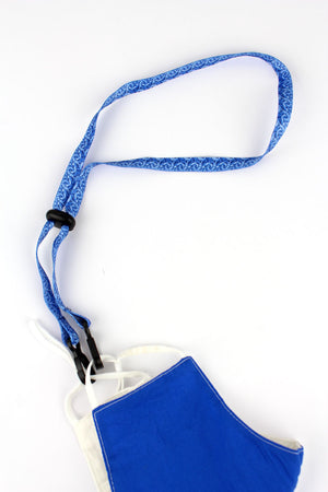 Royal Blue Tie-Dye Face Mask Lanyard
