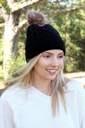 Snow Day Fleece Lined Knit Pom Pom Beanie, Black