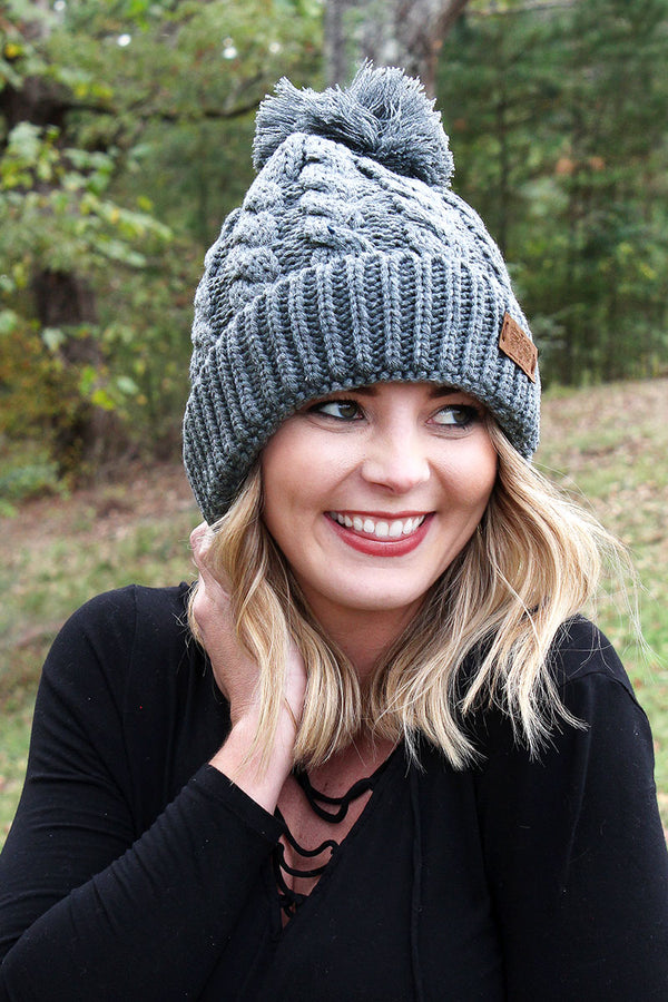Winter Escape Plush Lined Knit Pom Pom Beanie, Charcoal