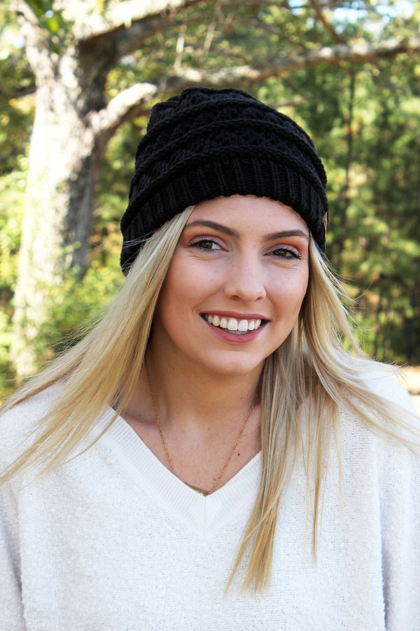 Winter Weekend Plush Lined Knit Ponytail Beanie, Black