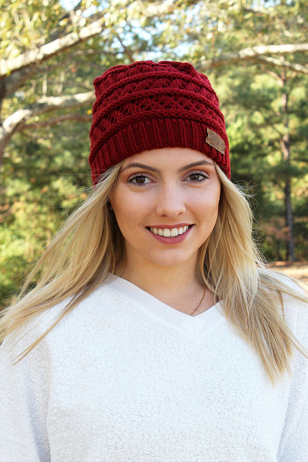 Winter Weekend Plush Lined Knit Ponytail Beanie, Burgundy