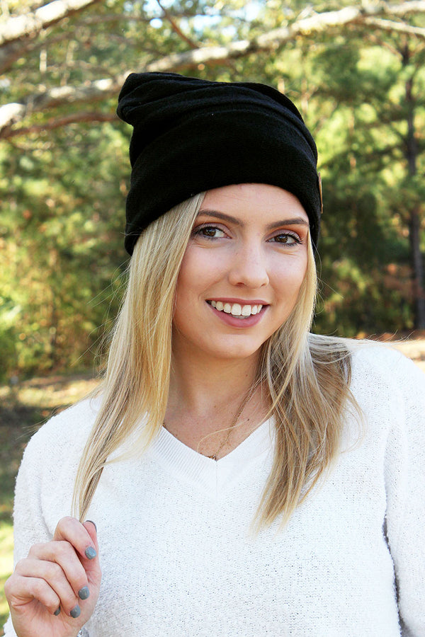 Canadian Chill Fleece Lined Wool Blend Slouch Beanie, Black