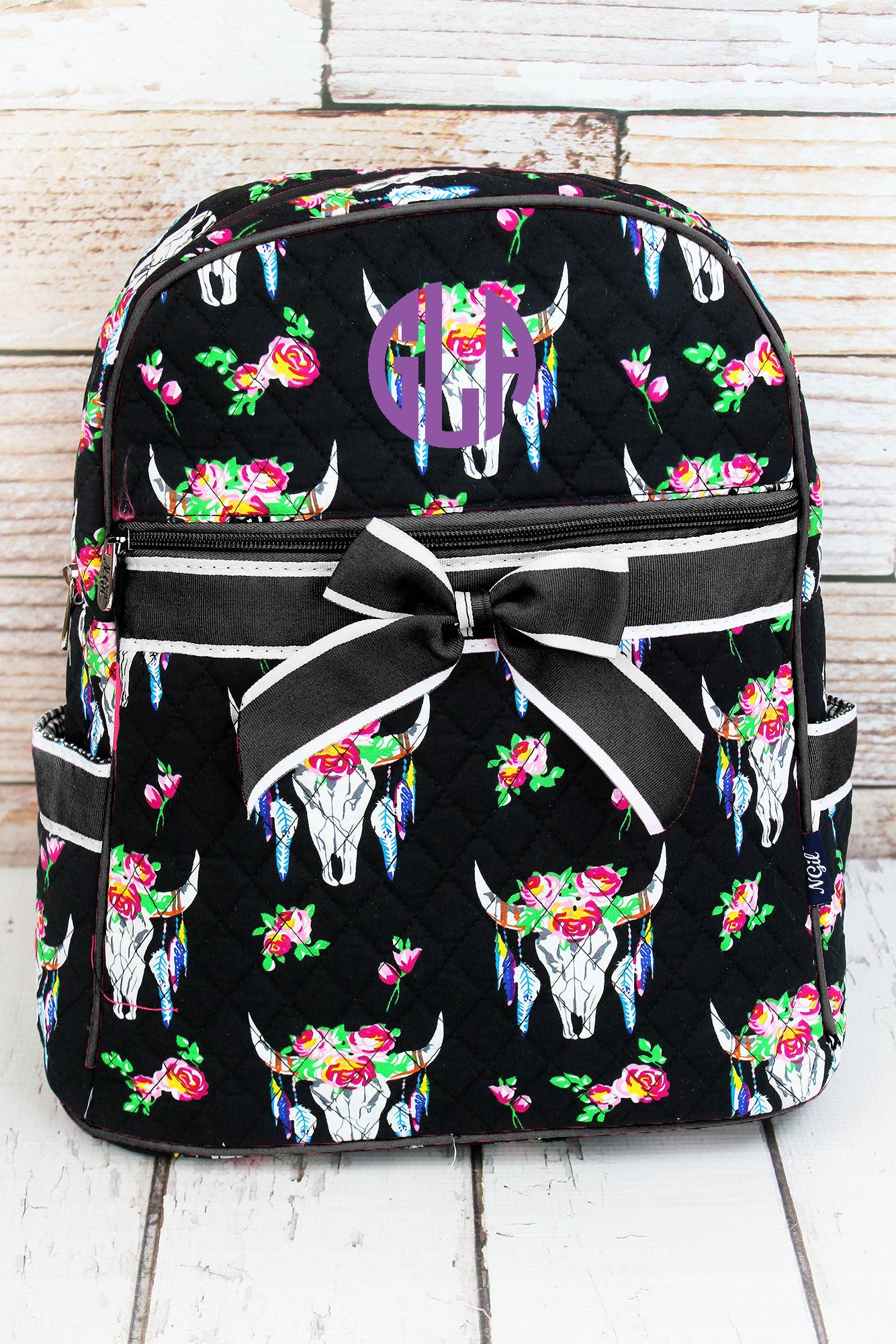 Free Spirit Steer Quilted Backpack With Black Trim