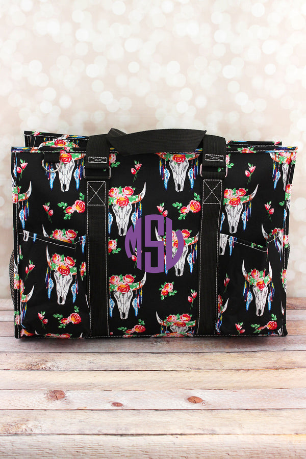 Free Spirit Steer with Black Trim Large Organizer Tote