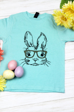Bunny With Glasses Leopard Youth Fine Jersey Tee