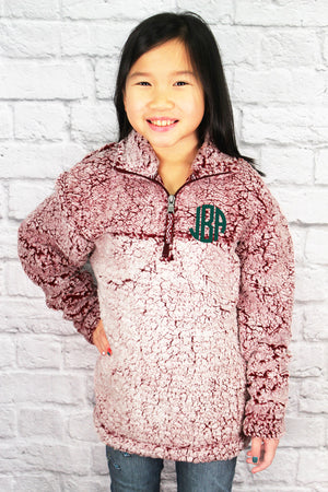 Youth Boxercraft Snowy Garnet Sherpa Pullover *Personalize It
