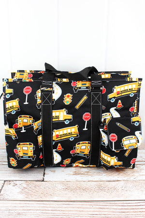 Back To School with Black Trim Large Organizer Tote