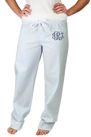 Set Sail Blue Seersucker Pajama Pant #C16-BLUE *Personalize It