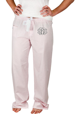 Cotton Candy Pink Seersucker Pajama Pant #C16-PINK *Personalize It