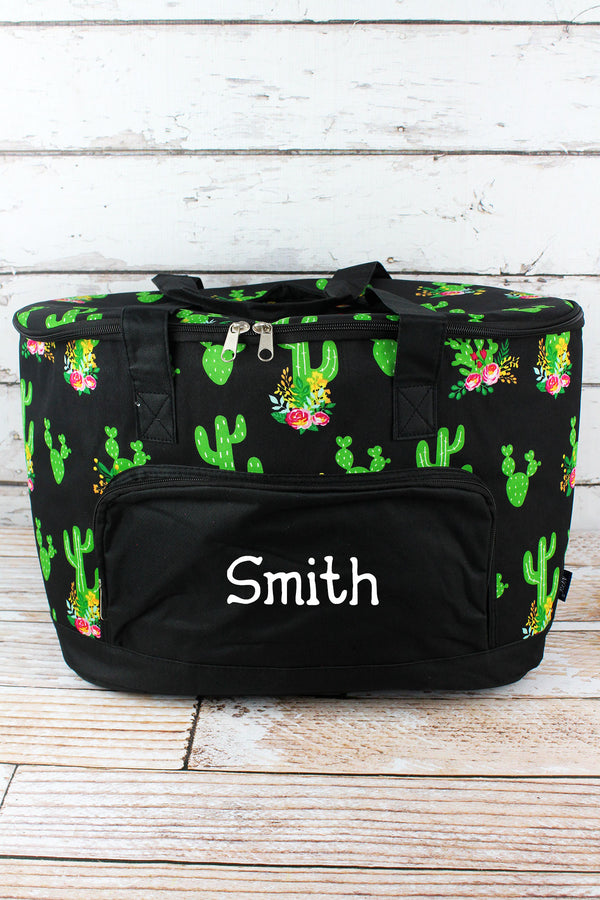 Cactus Garden and Black Cooler Tote with Lid