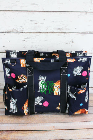 Frisky Felines with Navy Trim Large Organizer Tote
