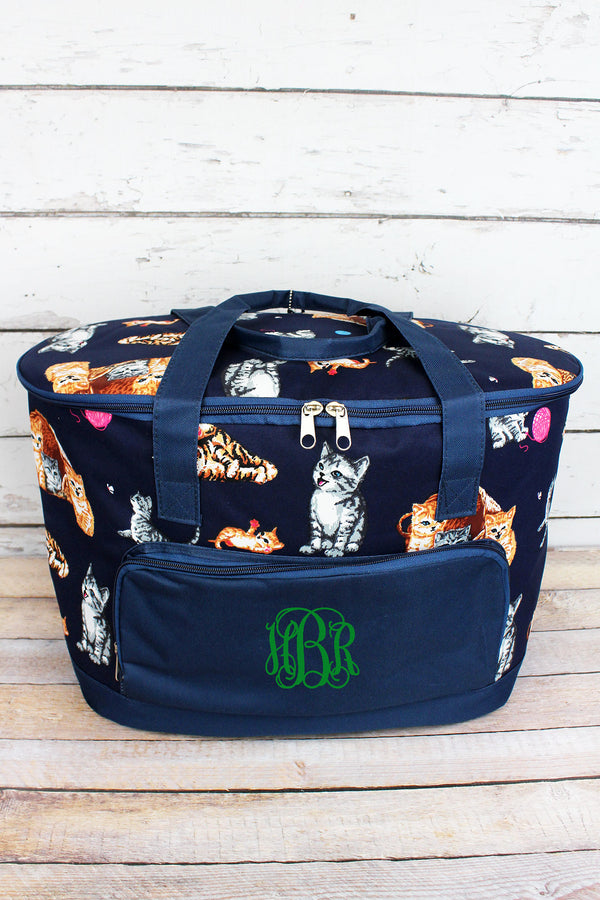 Frisky Felines and Navy Cooler Tote with Lid