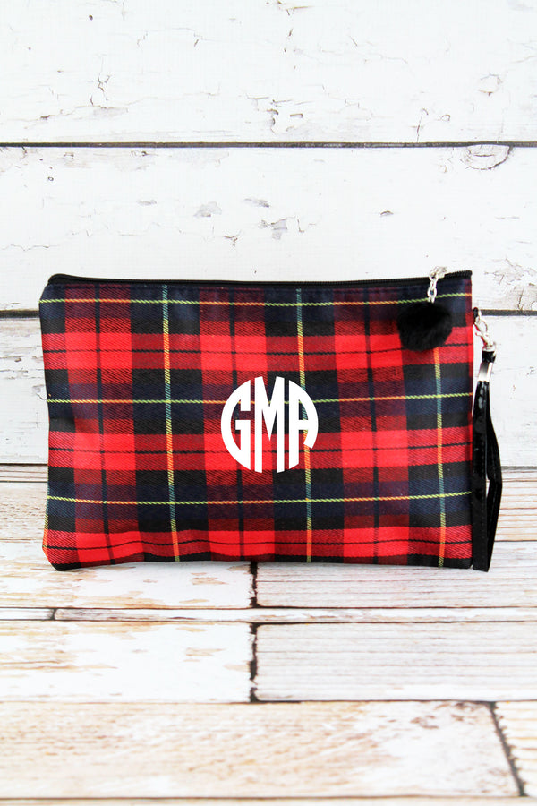 Red Plaid Cosmetic Pouch
