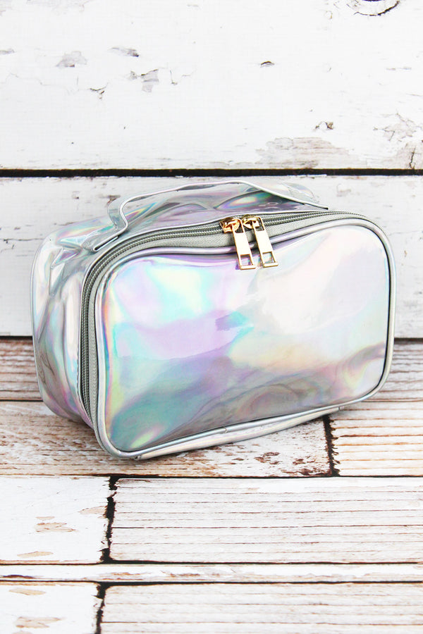 Iridescent Silver Travel Cosmetic Case