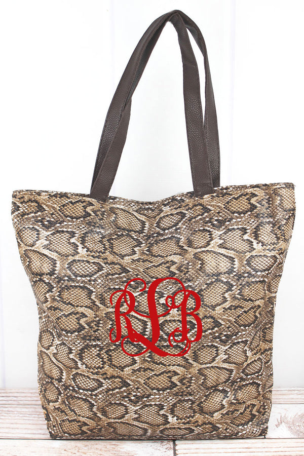 Wild Day Out Python Tote Bag, Brown