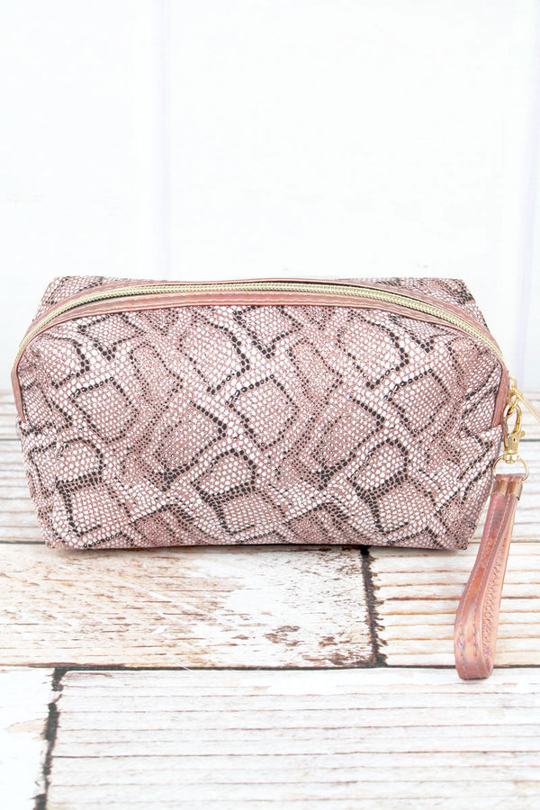 Metallic Rose Gold Python Wristlet Bag