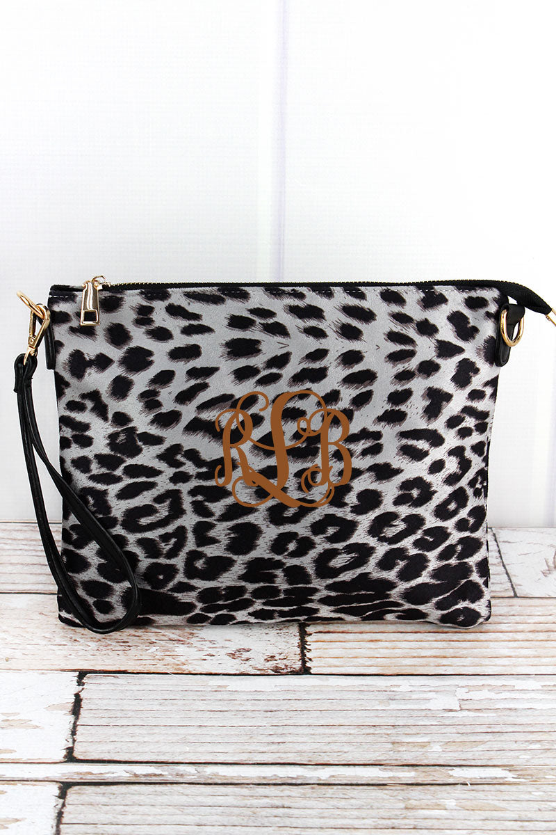 presenting stable quality 100% authenticated Wild Beauty Gray Leopard Crossbody Clutch Bag