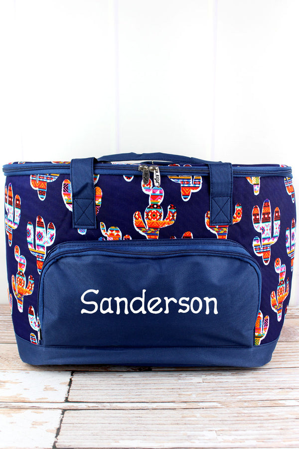 Mojave Cactus and Navy Cooler Tote with Lid