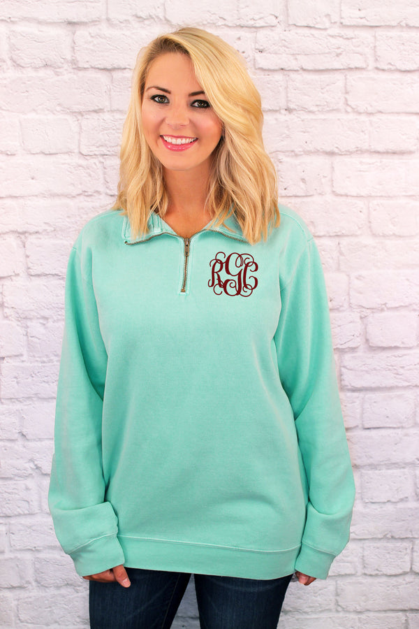 Shades of Green Comfort Colors Adult Quarter Zip Sweatshirt *Customizable!