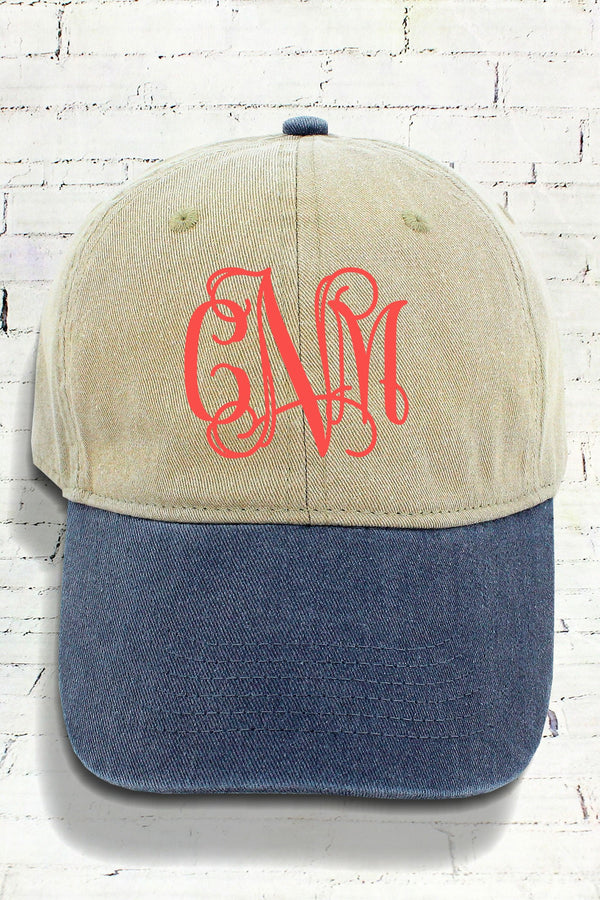 Khaki and Navy Comfort Colors Pigment Dyed Canvas Baseball Cap #CC0104