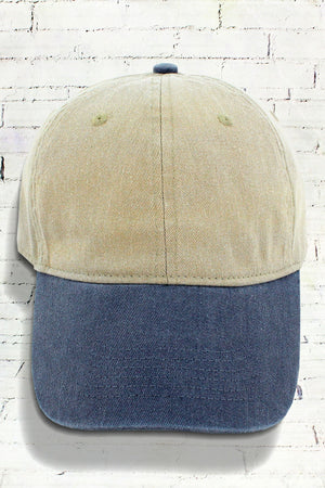 Khaki and Navy Comfort Colors Pigment Dyed Canvas Baseball Cap