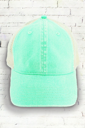 Island Reef and Ivory Comfort Colors Unstructured Trucker Cap