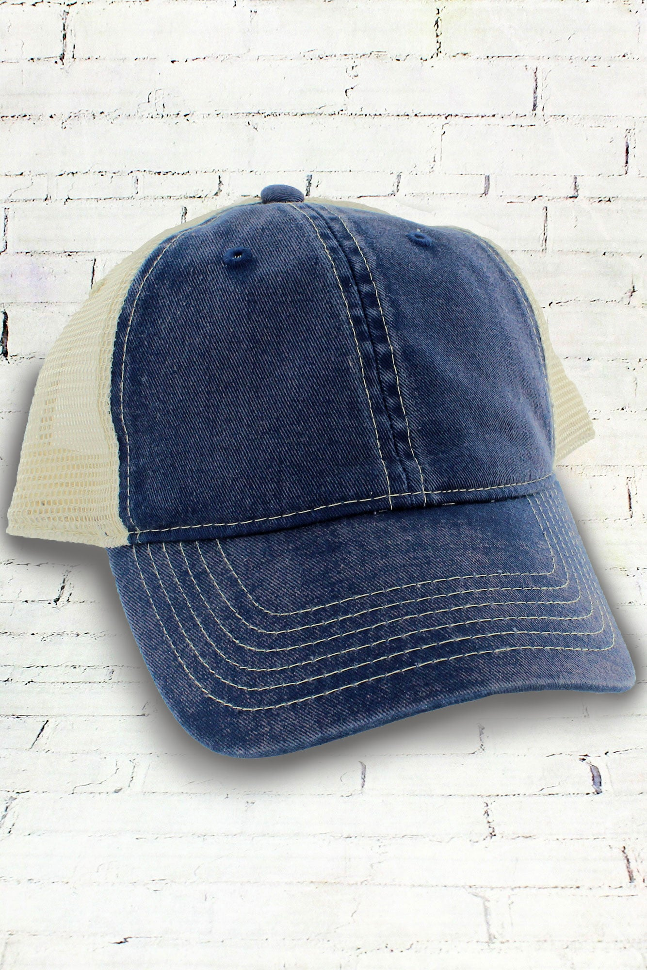 c3aa4dc27 True Navy and Ivory Comfort Colors Unstructured Trucker Cap
