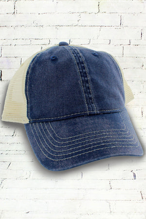 True Navy and Ivory Comfort Colors Unstructured Trucker Cap