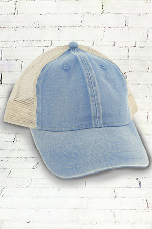 Washed Denim and Ivory Comfort Colors Unstructured Trucker Cap