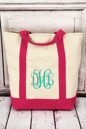 Comfort Colors Canvas Boat Tote with Raspberry Trim #CC0340