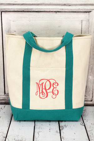 Comfort Colors Canvas Boat Tote with Seafoam Trim #CC0340