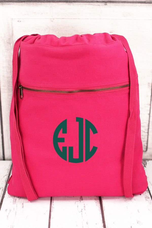 Raspberry Comfort Colors Canvas Drawstring Backpack #CC0342