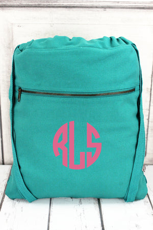 Seafoam Comfort Colors Canvas Drawstring Backpack #CC0342
