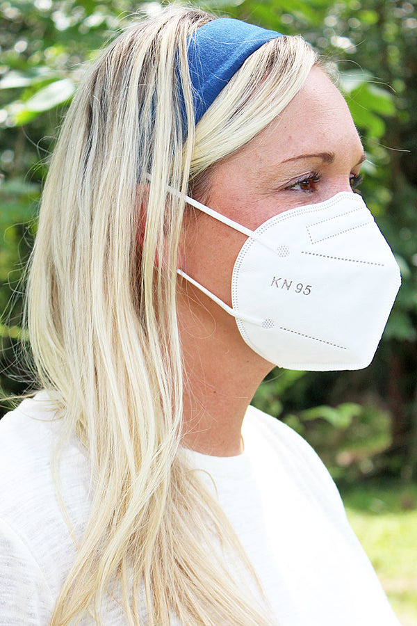 Navy Button Headband Face Mask Holder