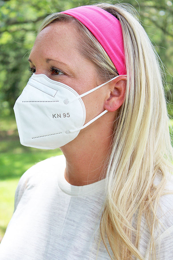 Pink Button Headband Face Mask Holder