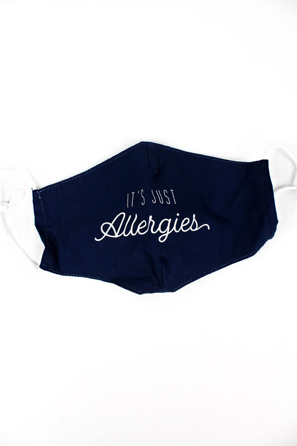 Navy 'It's Just Allergies' Two-Layer Fashion Face Mask with Filter Pocket