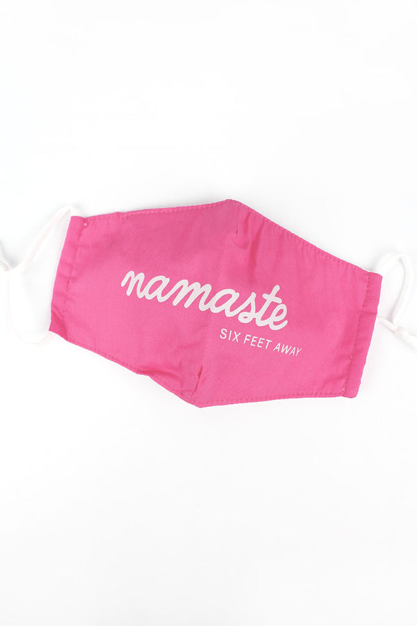 Coral 'Namaste Six Feet Away' Two-Layer Fashion Face Mask with Filter Pocket