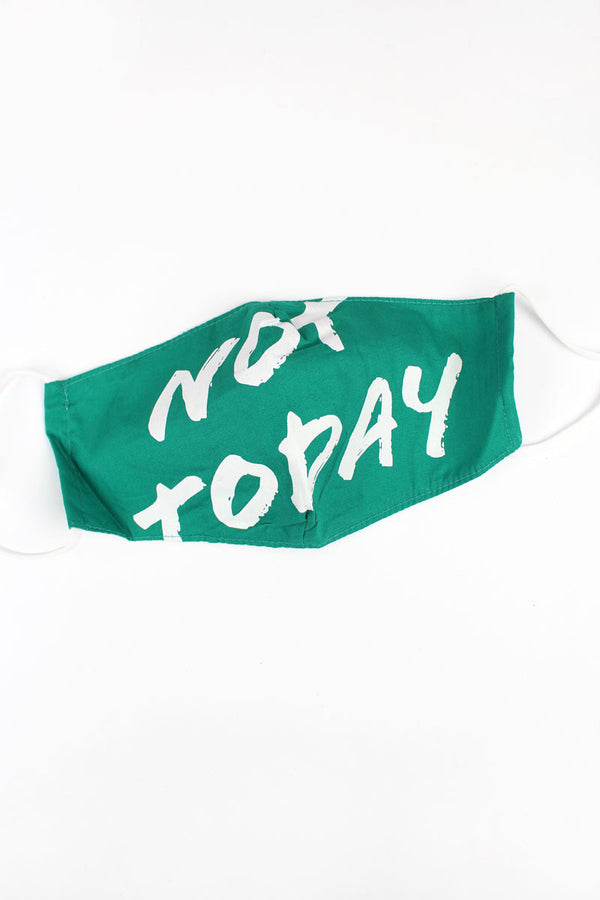 Dark Green 'Not Today' Two-Layer Fashion Face Mask with Filter Pocket