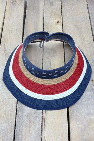 Stars and Stripes Roll Up Visor Hat