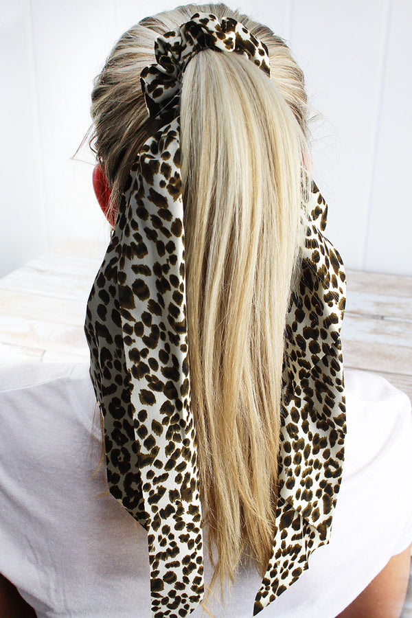 Wild About You Leopard Ponytail Scarf, Beige