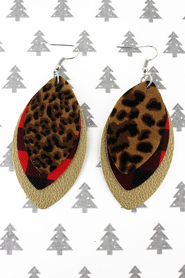 Leopard, Buffalo Plaid, and Gold Layered Marquise Earrings