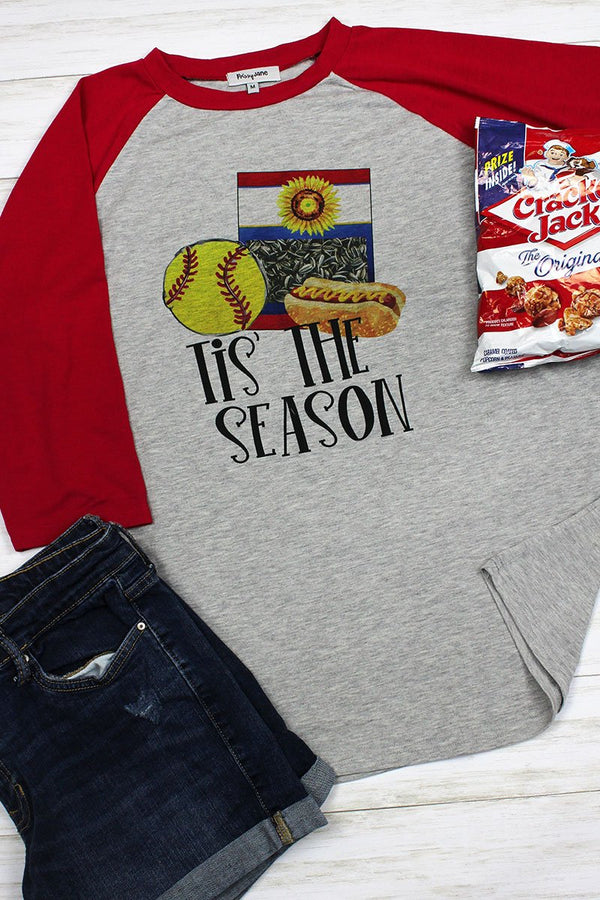 Tis The Season Softball 3/4 Sleeve Raglan Tee