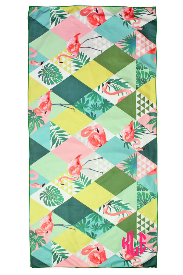 Flamingo Tropics Microfiber Beach Towel Mat in Pouch