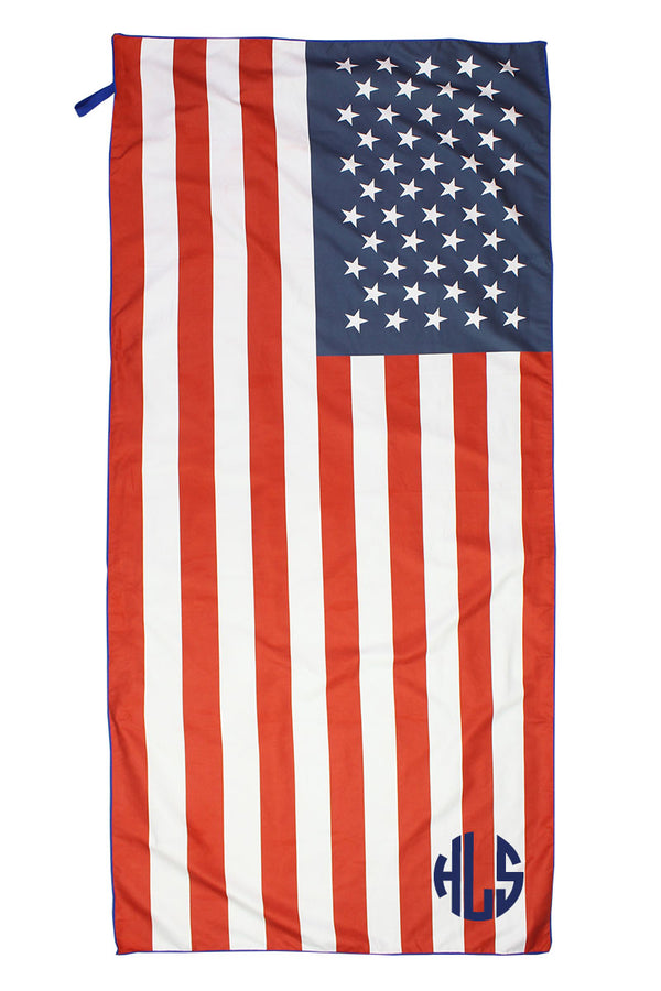 American Flag Microfiber Beach Towel Mat in Pouch