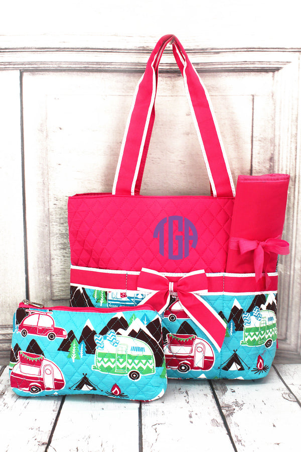 Happy Camper Quilted Diaper Bag with Hot Pink Trim