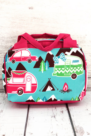 Happy Camper Insulated Bowler Style Lunch Bag with Hot Pink Trim